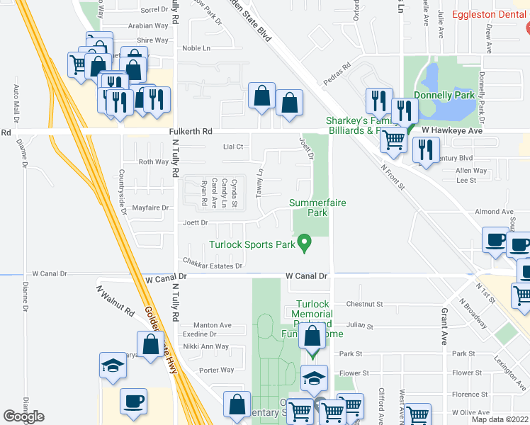 map of restaurants, bars, coffee shops, grocery stores, and more near 1679 Joett Dr in Turlock