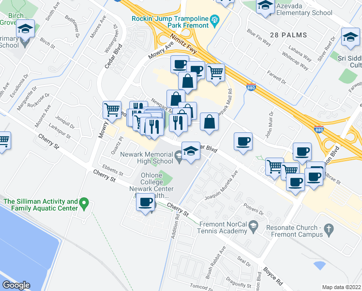 map of restaurants, bars, coffee shops, grocery stores, and more near South Magazine in Newark