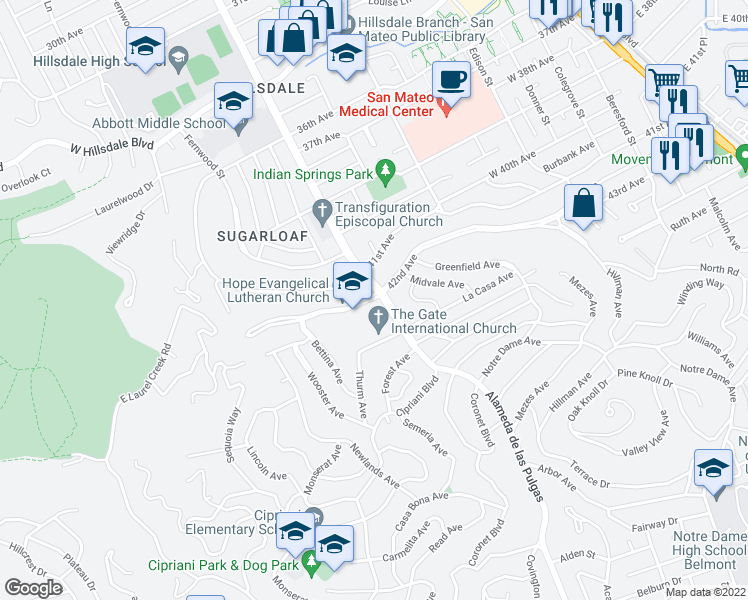 map of restaurants, bars, coffee shops, grocery stores, and more near 525 42nd Avenue in San Mateo