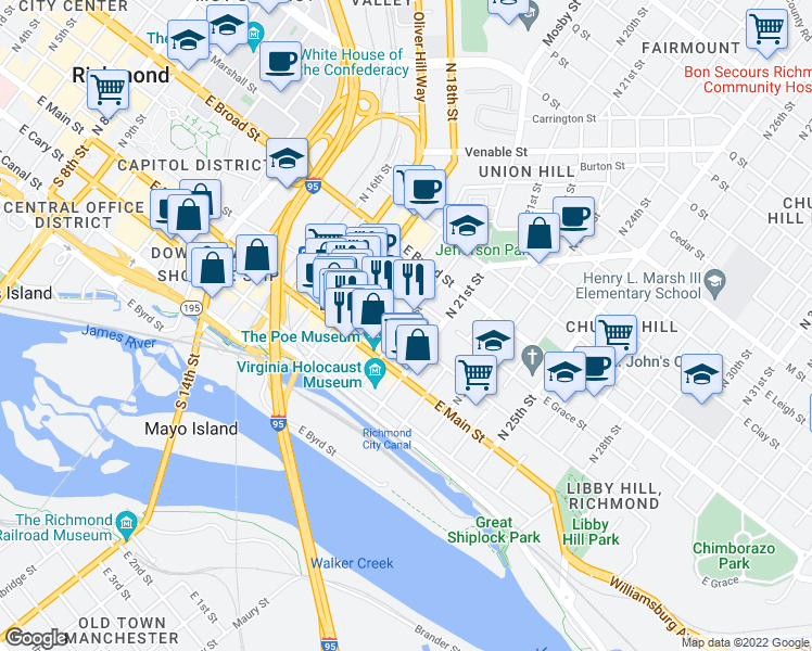 map of restaurants, bars, coffee shops, grocery stores, and more near in Richmond