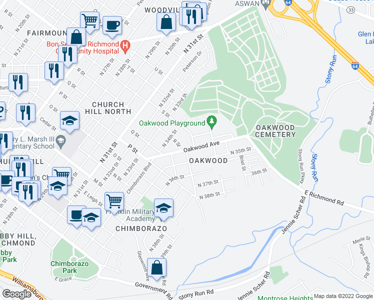 map of restaurants, bars, coffee shops, grocery stores, and more near 3422 R Street in Richmond