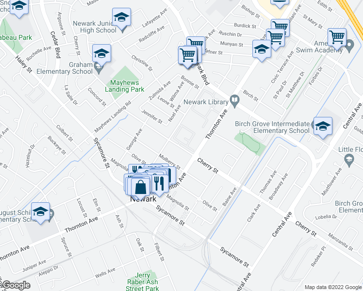 map of restaurants, bars, coffee shops, grocery stores, and more near 36876 Mulberry St in Newark