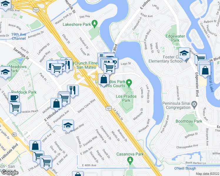 map of restaurants, bars, coffee shops, grocery stores, and more near 3055-3099 La Selva St in San Mateo