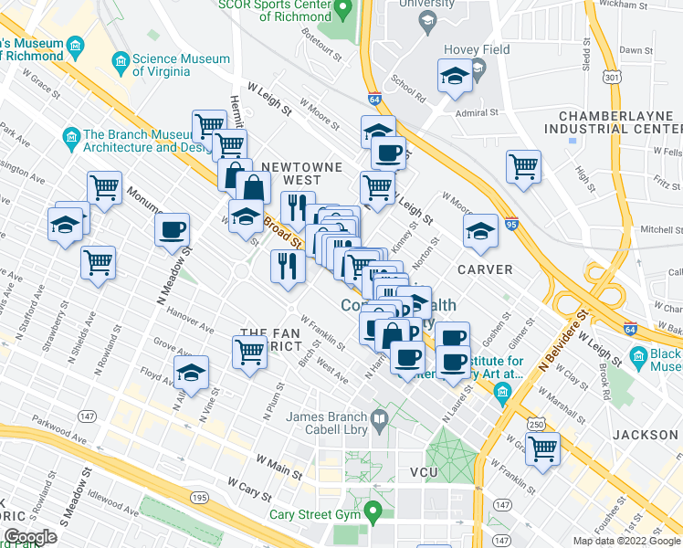 map of restaurants, bars, coffee shops, grocery stores, and more near 1500 West Broad Street in Richmond