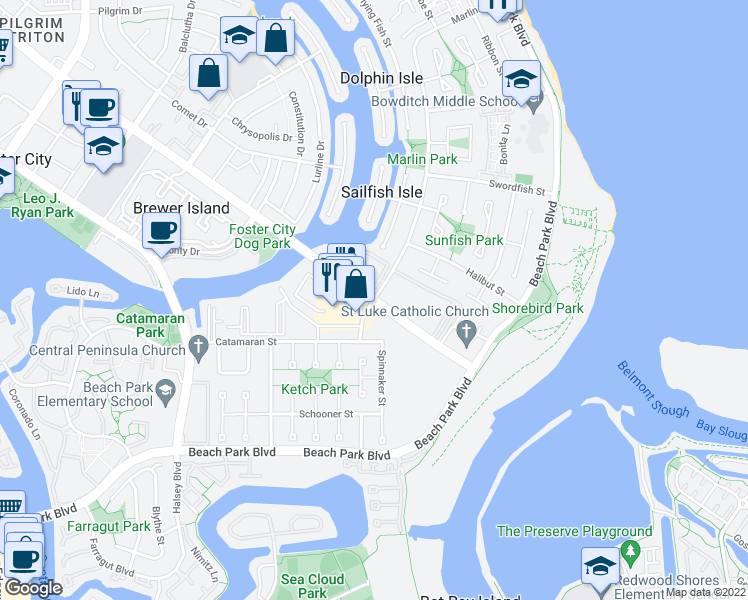 map of restaurants, bars, coffee shops, grocery stores, and more near Foster City Blvd & Marlin Ave in Foster City