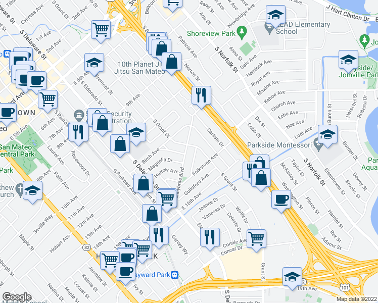 map of restaurants, bars, coffee shops, grocery stores, and more near 926 Sunnybrae Boulevard in San Mateo