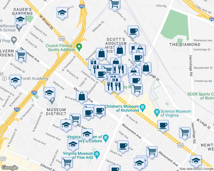 map of restaurants, bars, coffee shops, grocery stores, and more near 1100-1198 N Belmont Ave in Richmond