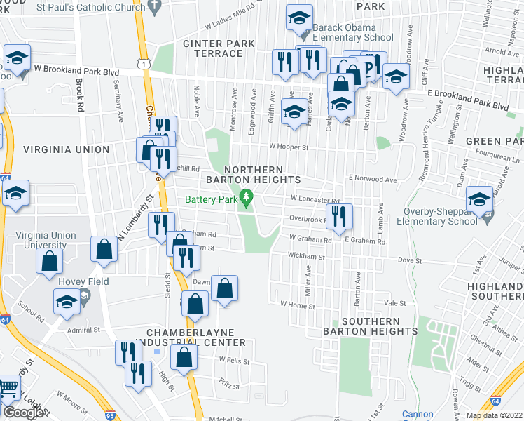 map of restaurants, bars, coffee shops, grocery stores, and more near 314 Overbrook Rd in Richmond