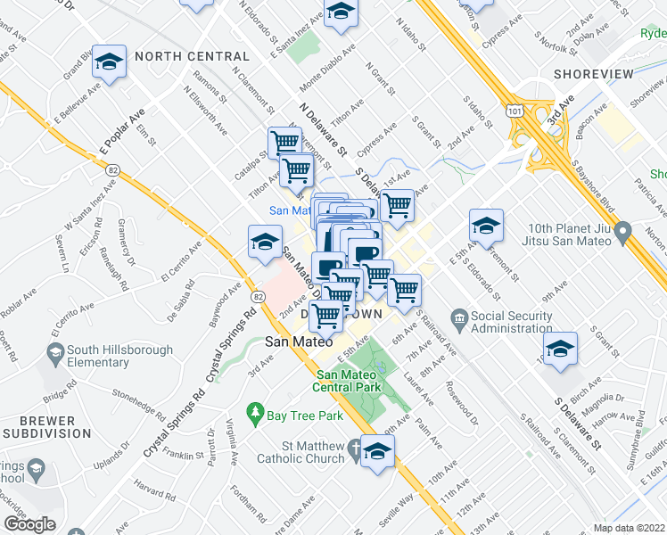 map of restaurants, bars, coffee shops, grocery stores, and more near 212 2nd Ave in San Mateo