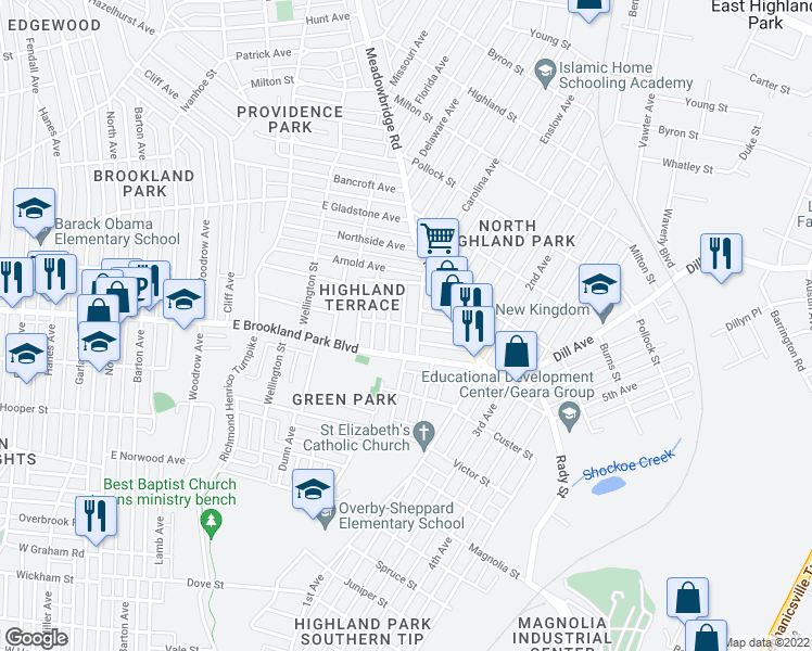 map of restaurants, bars, coffee shops, grocery stores, and more near Highland View Avenue in Richmond