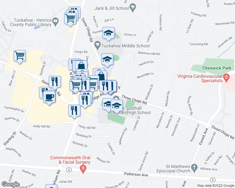 map of restaurants, bars, coffee shops, grocery stores, and more near 8900 Three Chopt Road in Henrico