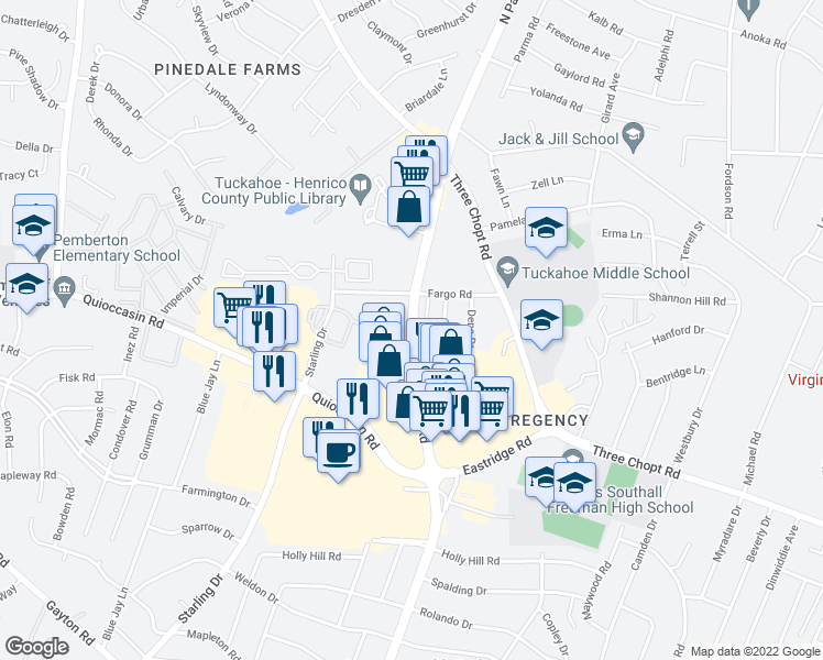 map of restaurants, bars, coffee shops, grocery stores, and more near Gateway East in Henrico