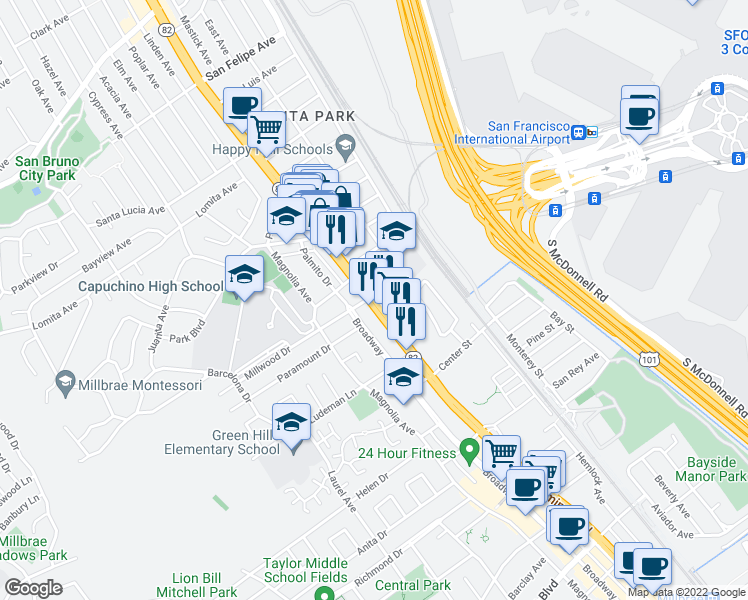 map of restaurants, bars, coffee shops, grocery stores, and more near 117 San Juan Avenue in San Bruno