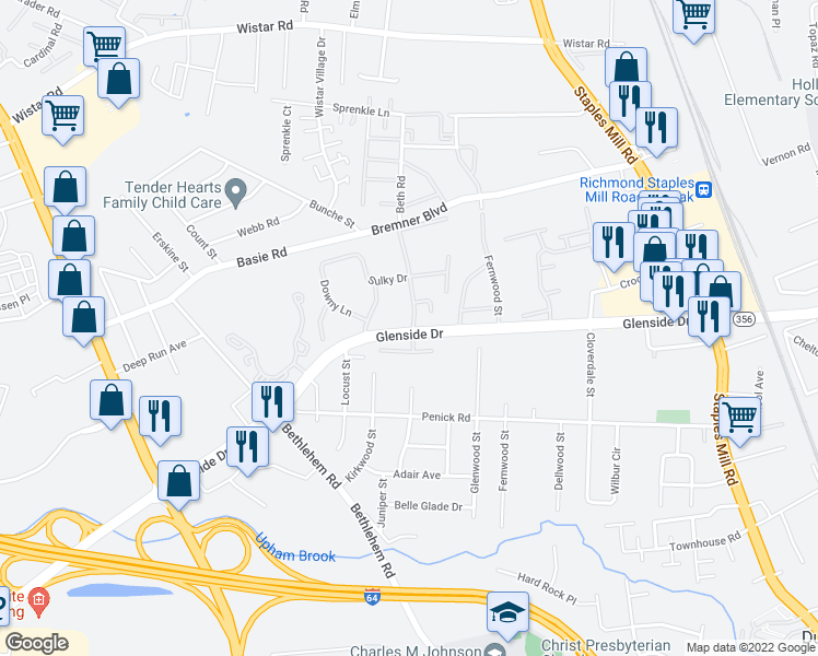 map of restaurants, bars, coffee shops, grocery stores, and more near 7000 Coachman Ln in Henrico