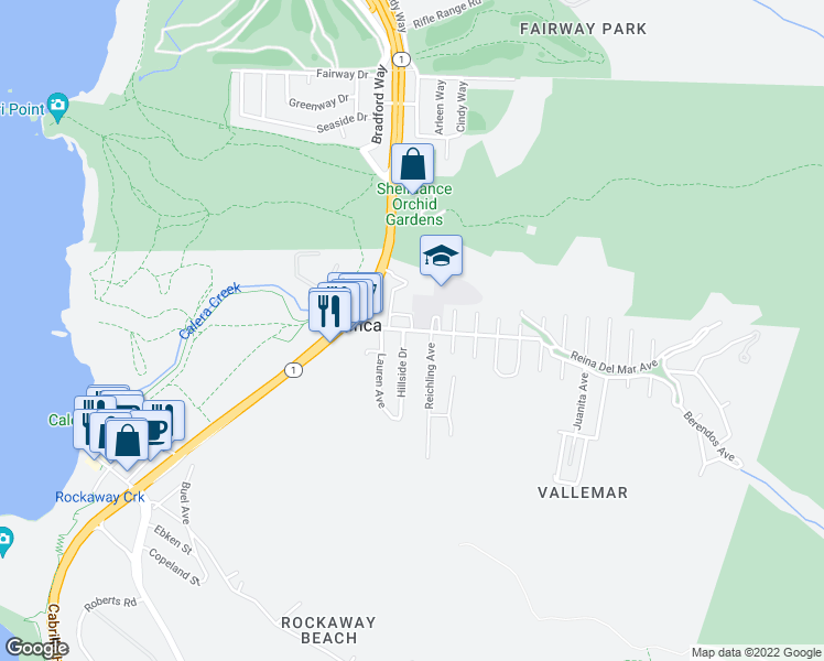 map of restaurants, bars, coffee shops, grocery stores, and more near in Pacifica
