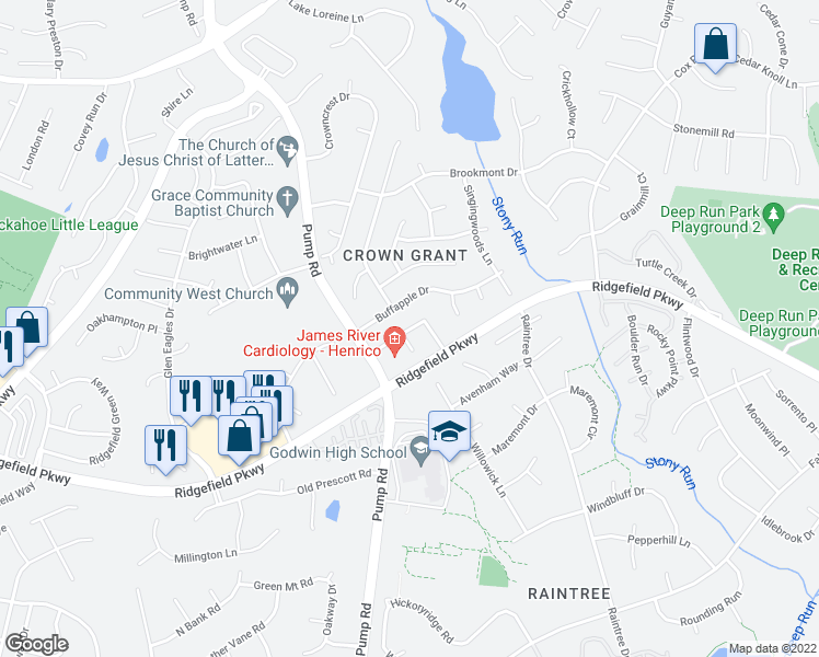 map of restaurants, bars, coffee shops, grocery stores, and more near Kings Grant Dr in Henrico