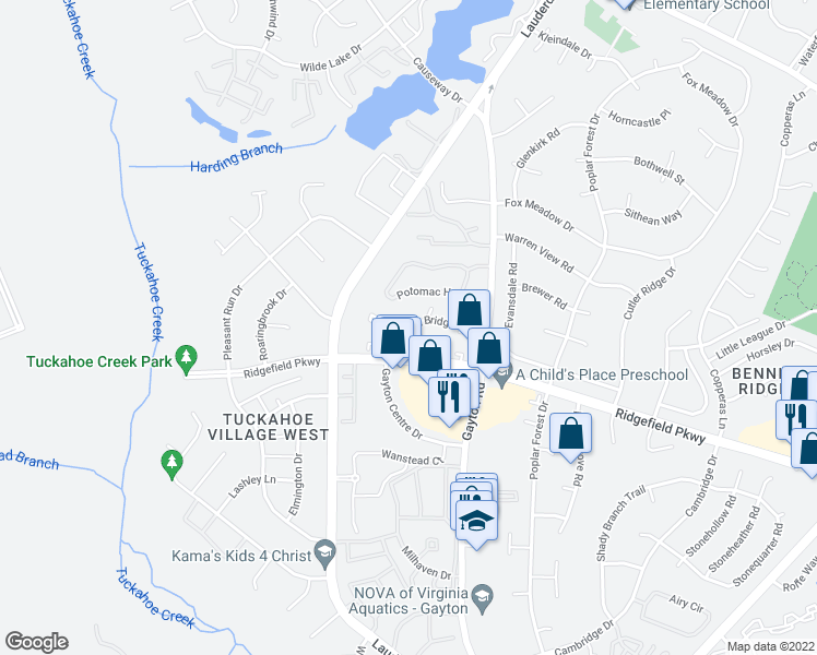 map of restaurants, bars, coffee shops, grocery stores, and more near 2500-2548 Potomac Hunt Ln in Henrico