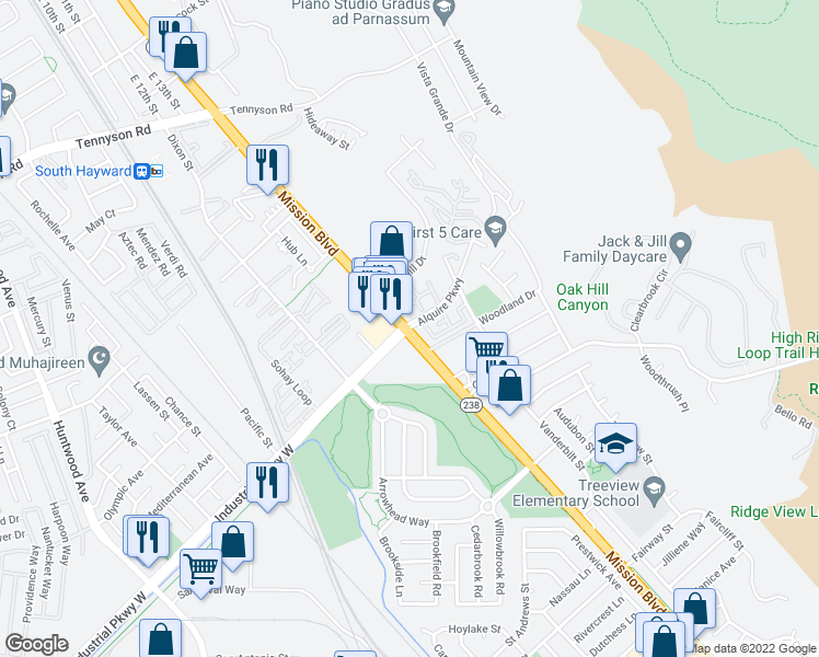 map of restaurants, bars, coffee shops, grocery stores, and more near Mission Blvd & Industrial Pkwy in Hayward