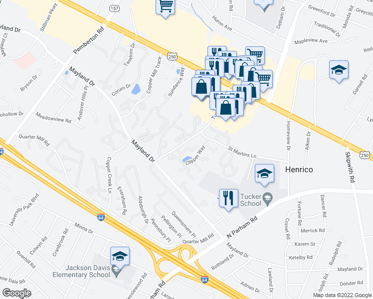 map of restaurants, bars, coffee shops, grocery stores, and more near 2363-2399 Harpoon Ct in Henrico
