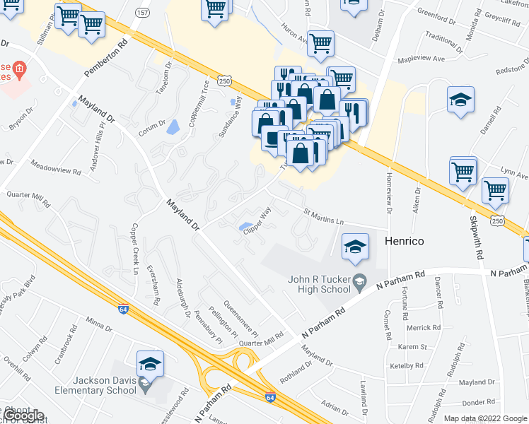 map of restaurants, bars, coffee shops, grocery stores, and more near 2370 Harpoon Ct in Richmond