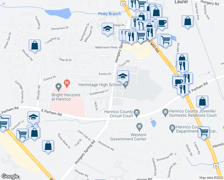 map of restaurants, bars, coffee shops, grocery stores, and more near 8501-8599 Hungary Spring Rd in Henrico