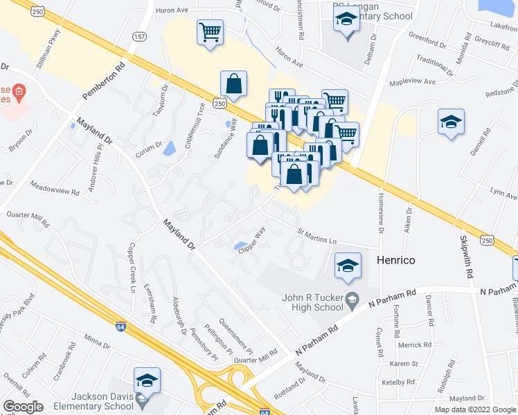 map of restaurants, bars, coffee shops, grocery stores, and more near Tuckernuck Dr & St Martins Ln in Henrico
