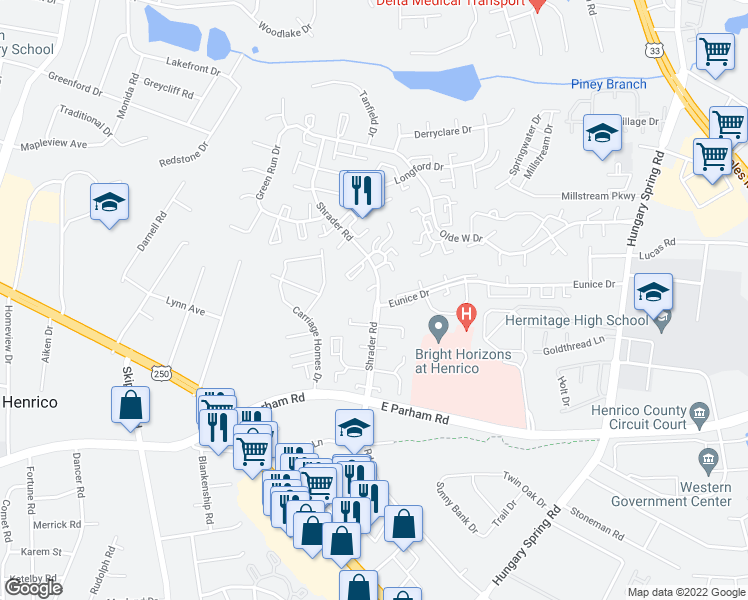 map of restaurants, bars, coffee shops, grocery stores, and more near 5618 Eunice Dr in Richmond