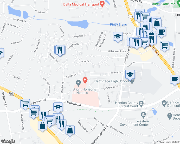 map of restaurants, bars, coffee shops, grocery stores, and more near 5619-5699 Eunice Drive in Henrico