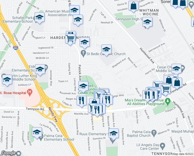 map of restaurants, bars, coffee shops, grocery stores, and more near Cheryl Ann Cir in Hayward