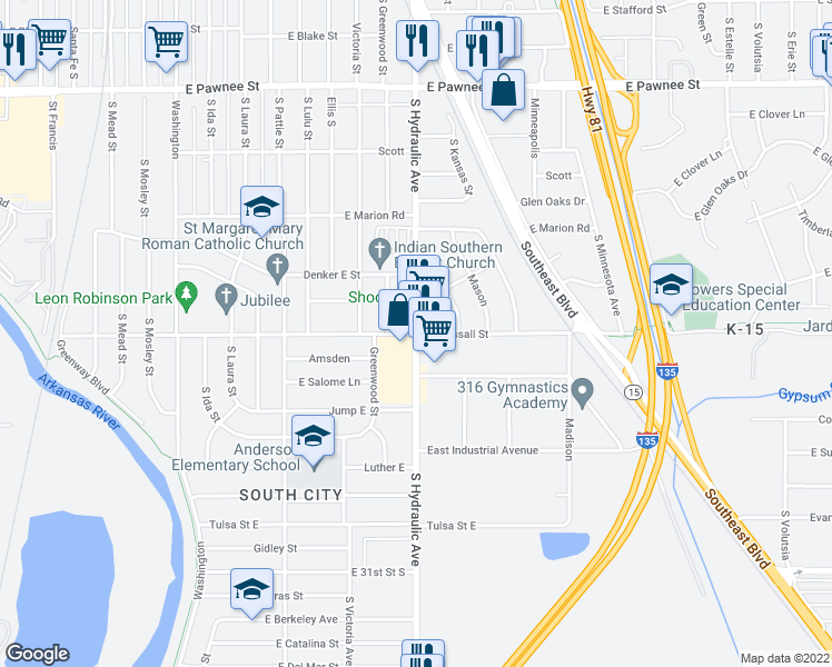 map of restaurants, bars, coffee shops, grocery stores, and more near S Hydraulic St & E Wassall St in Wichita