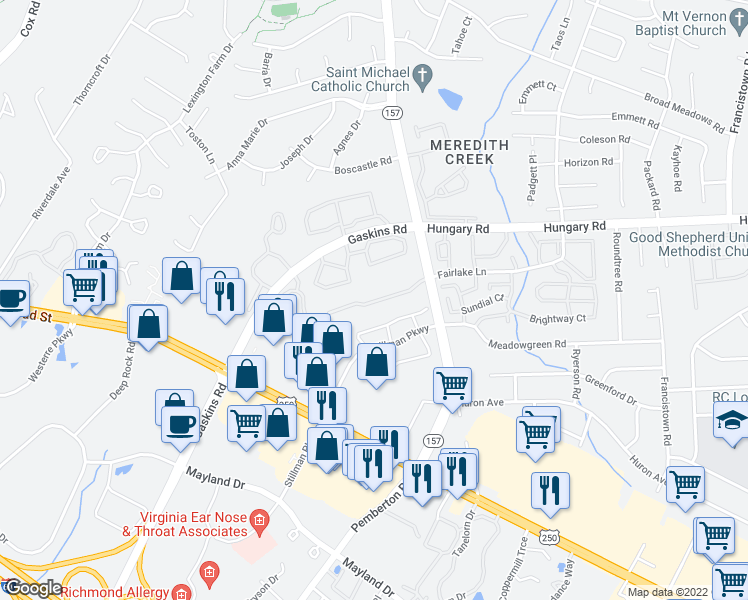 map of restaurants, bars, coffee shops, grocery stores, and more near 4140 Fairlake Lane in Glen Allen