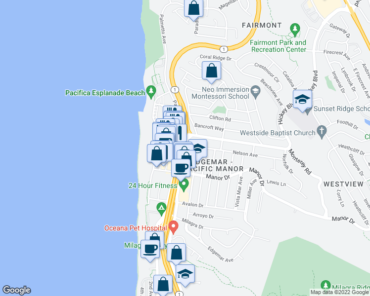 map of restaurants, bars, coffee shops, grocery stores, and more near 451 Oceana Boulevard in Pacifica