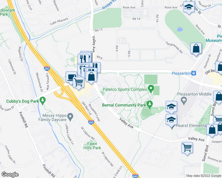 map of restaurants, bars, coffee shops, grocery stores, and more near 574 East Gate Way in Pleasanton