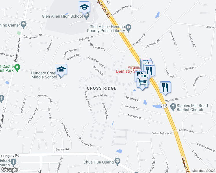 map of restaurants, bars, coffee shops, grocery stores, and more near 3418 Amburg Lane in Glen Allen