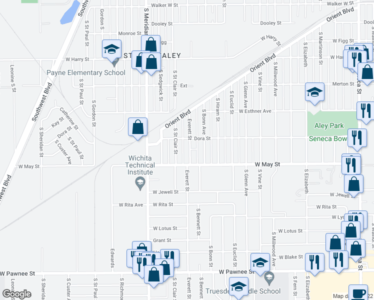 map of restaurants, bars, coffee shops, grocery stores, and more near 1925 S Everett St in Wichita