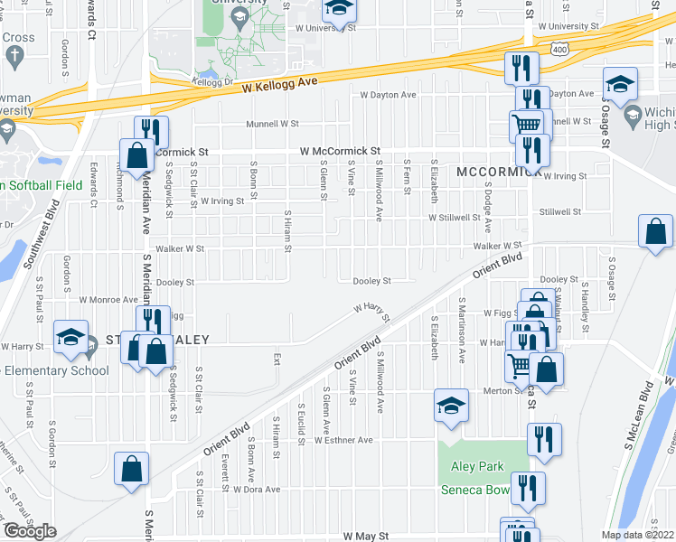 map of restaurants, bars, coffee shops, grocery stores, and more near in Wichita