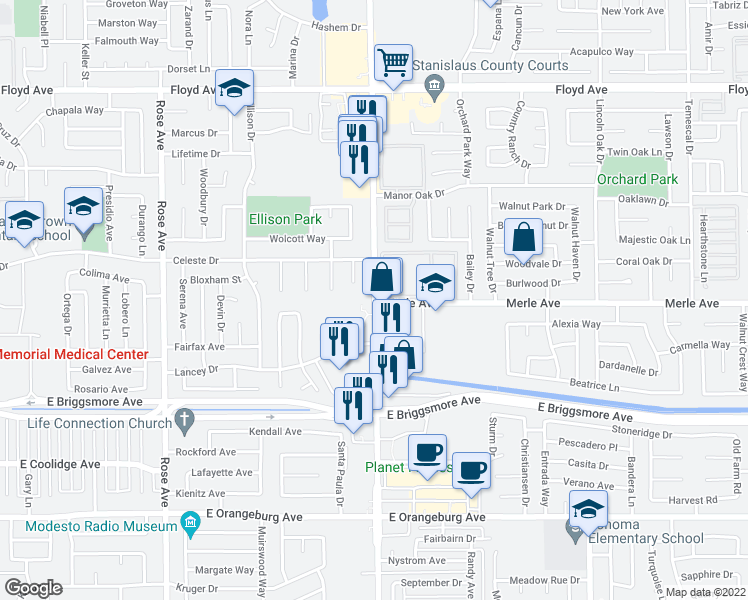 map of restaurants, bars, coffee shops, grocery stores, and more near 2227-2299 Merle Avenue in Modesto