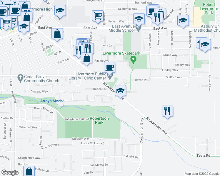 map of restaurants, bars, coffee shops, grocery stores, and more near 3146 Chateau Way in Livermore