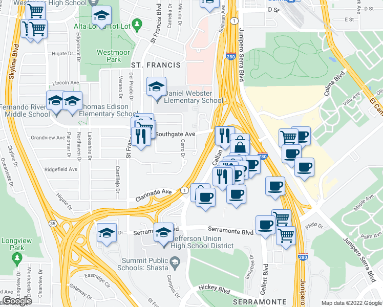 map of restaurants, bars, coffee shops, grocery stores, and more near 209 Cerro Dr in Daly City