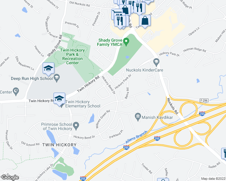 map of restaurants, bars, coffee shops, grocery stores, and more near 5001 Hickory Park Drive in Glen Allen