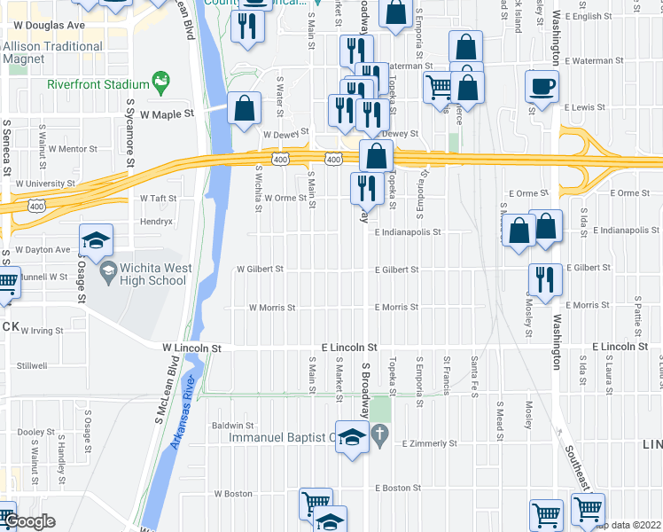 map of restaurants, bars, coffee shops, grocery stores, and more near 939 South Market Street in Wichita
