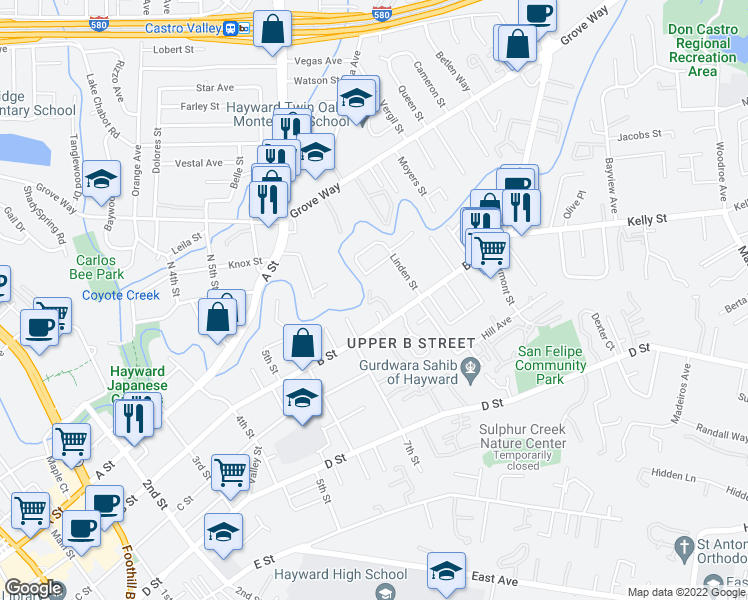 map of restaurants, bars, coffee shops, grocery stores, and more near 1744 B Street in Hayward