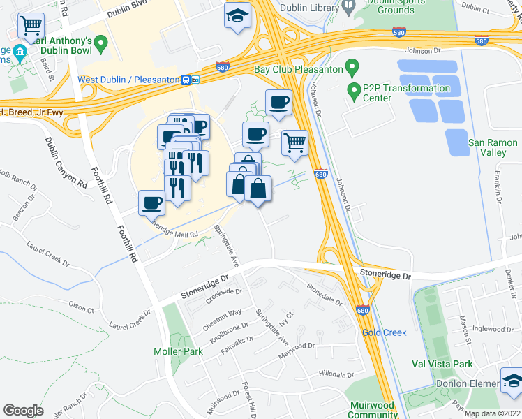 map of restaurants, bars, coffee shops, grocery stores, and more near 6280 Stoneridge Mall Road in Pleasanton
