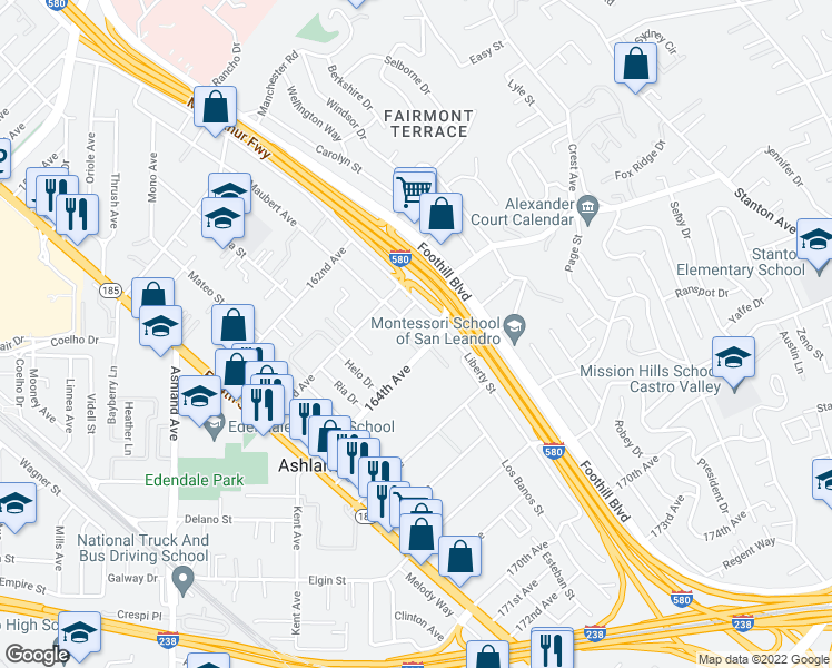 map of restaurants, bars, coffee shops, grocery stores, and more near 1691 164th Ave in San Leandro