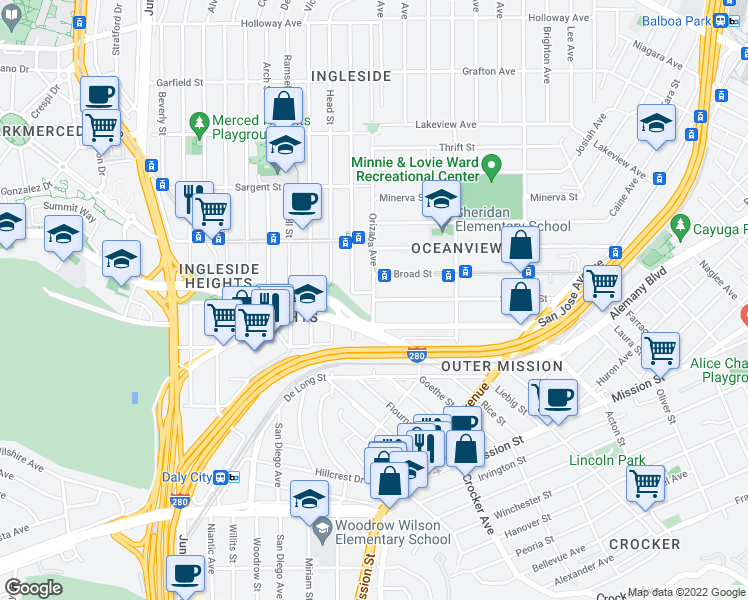 map of restaurants, bars, coffee shops, grocery stores, and more near Orizaba Avenue & Sadowa Street in San Francisco