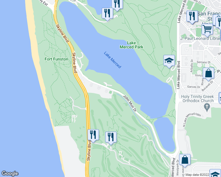 map of restaurants, bars, coffee shops, grocery stores, and more near 447-637 John Muir Dr in San Francisco