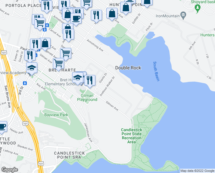 map of restaurants, bars, coffee shops, grocery stores, and more near Arelious Walker Drive in San Francisco