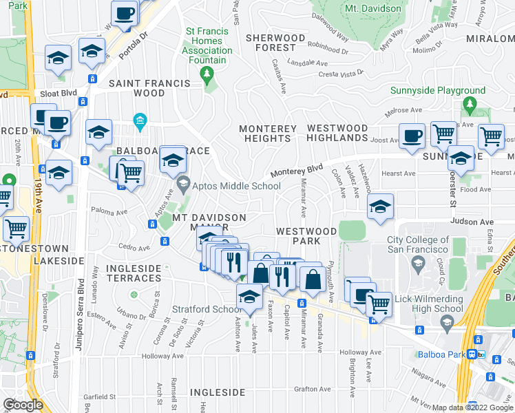 map of restaurants, bars, coffee shops, grocery stores, and more near 950 Darien Way in San Francisco