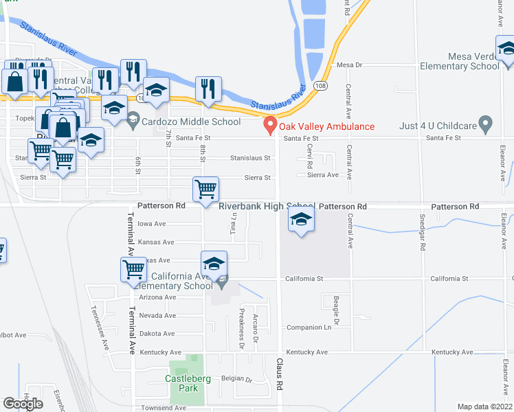 map of restaurants, bars, coffee shops, grocery stores, and more near 3952 Patterson Road in Riverbank
