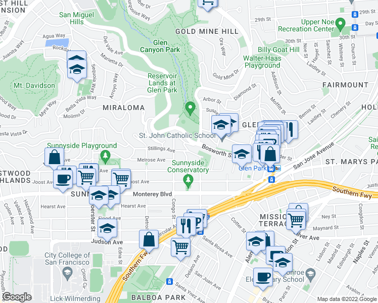 map of restaurants, bars, coffee shops, grocery stores, and more near Stillings Avenue & Martha Avenue in San Francisco